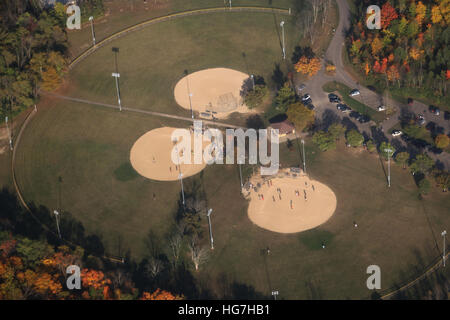 Aireal baseball fields from airliner Pennsylvania - Stock Image