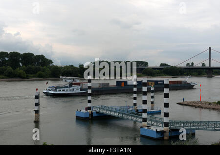 Aragon container ship, river Rhine, Leverkusen, Germany. - Stock Image