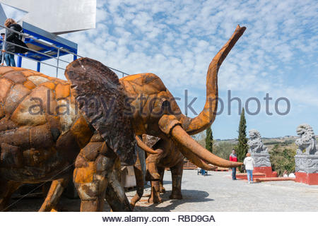 an elephant made from recycled metal, to form part of the African section of the Quinta dos Loridos, Bombarrel, Portugal - Stock Image