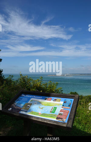 Information point overlooking Hurst Channel and Hurst Castle, The Solent, Isle of Wight. - Stock Image