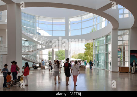 The museum entrance hall at the Getty Center in Los Angeles - Stock Image