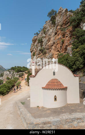 Crete, Greece. June 2019. The Church of Virgin Mary on the Embassa Gorge in the central Cretan mountains. - Stock Image