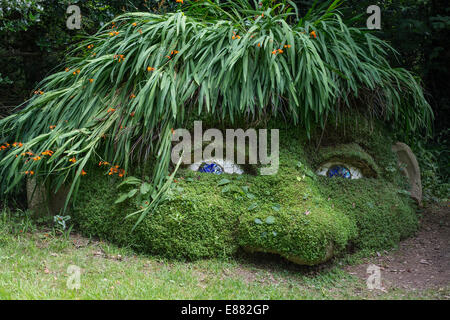 The Giant's Head, were designed to enhance the woodland experience. The Lost Gardens of Heligan UK Europe - Stock Image