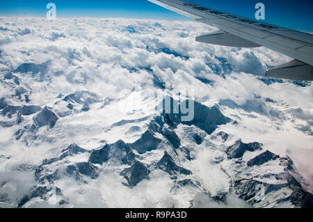 Aerial over eastern Tibet, China - Stock Image