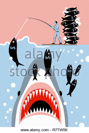 Businessman catching dollar sign fish unaware of shark - Stock Image