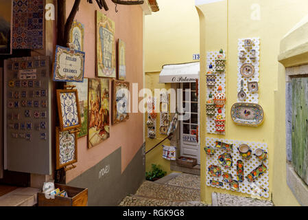 Souvenir shops in Sintra, Portugal - Stock Image