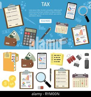 Tax and Business Accounting Infographics - Stock Image