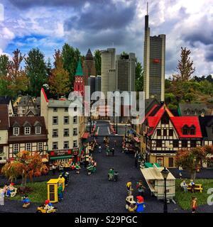 Model of Frankfurt, Legoland, Guenzburg, Bavaria, Germany - Stock Image