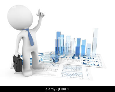 Dude 3D character pointing up on financial document with 3d graphs and pie of blue glass. 3d Render. - Stock Image