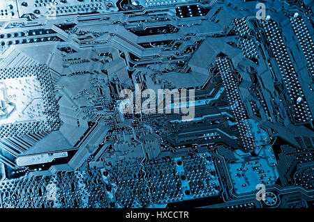 computers motherboard, microchips and transistors - Stock Image