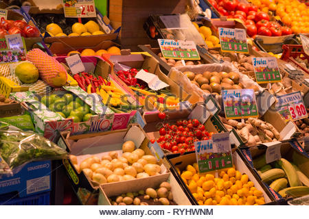 Fresh fruit and vegetables on sale in Triana Market Seville - Stock Image