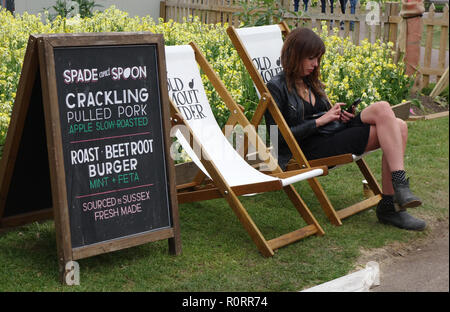 young woman checking her phone at Brighton Fringe festival, United Kingdom - Stock Image