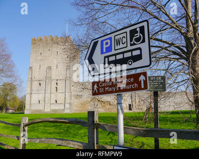 Tourist signs outside of Portchester Castle, Hampshire, England - Stock Image