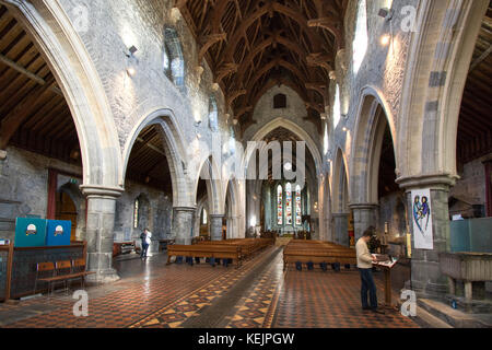 The nave of the 13th century St. Canice's Cathedral ( Church of Ireland) in Kilkenny Ireland - the second longest - Stock Image