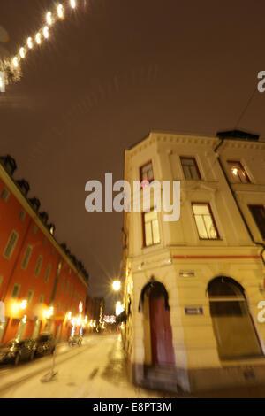 Swedish city on a icy winter night, blurred - Stock Image
