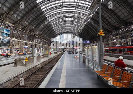 Main Railway Station in Frankfurt, Germany. - Stock Image