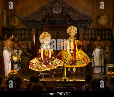 Horizontal view of a Kathakali performance in Kerala, India. - Stock Image