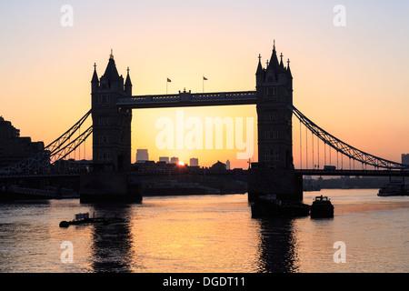 London Tower Bridge at sunrise England - Stock Image