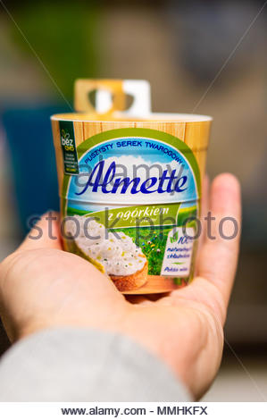 Polish Almette cream cheese with cucumber in a cup on a open hand - Stock Image