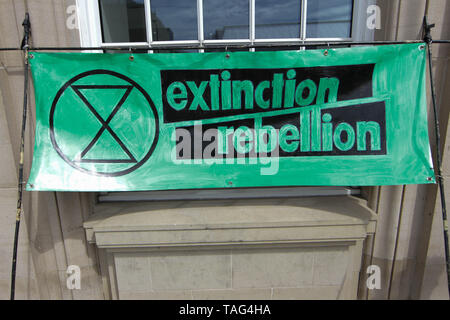 An Extinction Rebellion banner during a demo outside Derby City Council house on 22/05/2019 - Stock Image