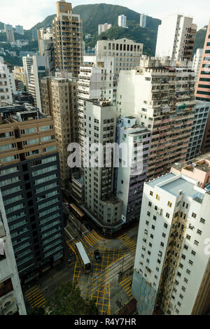 View of high rise buildings on Hong Kong Island - Stock Image