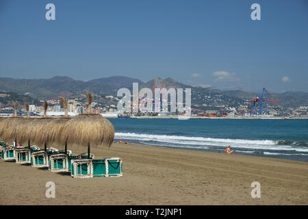 View of Málaga from La Misericordia Beach. Andalusia, Spain. - Stock Image