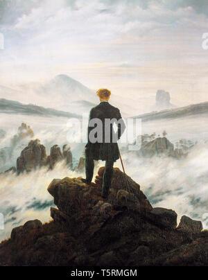 Caspar David Friedrich, Wanderer above the Sea of Fog, painting, c. 1817 - Stock Image