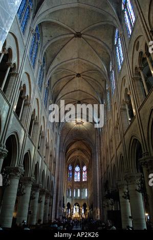Interior of Notre Dame Cathedral Ile de la Cite Paris France Europe - Stock Image