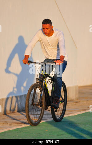 Cyclist in Estoril Cascais Portugal - Stock Image