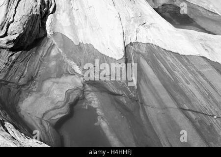 Graphic black and white view of the Val Verzasca rocks, Switerland. - Stock Image