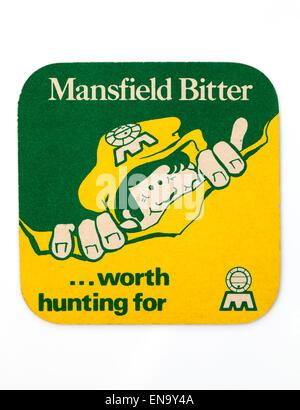 Vintage British Beer Mat advertising Mansfield Bitter Beer - Stock Image