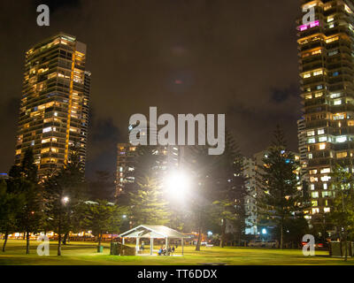 Picnic In A Park At Night Time - Stock Image