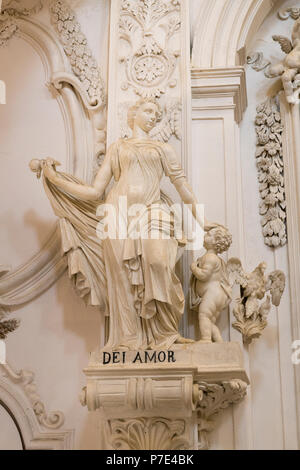 Italy Sicily Agrigento Piazza Purgatorio Chiesa di San Lorenzo rebuilt 1600s famed statues sculptures Christian Virtues Dei Amor for the Love of God - Stock Image
