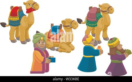 Wise Men Christmas Nativity Scene Cartoon - Stock Image