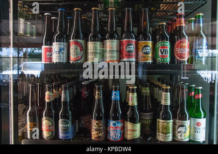 Craft beers displayed in a cabinet at the Old Glenlyon General Storein the Central Highlands of Victoria, Australia - Stock Image