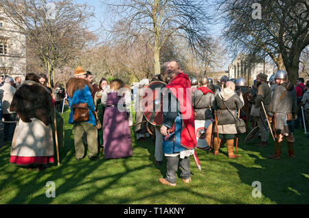 People in costume at the Viking Festival Dean's Park York North Yorkshire England UK United Kingdom GB Great Britain - Stock Image