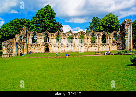 Ruins of St Marys Abbey, Museum Gardens, York, England - Stock Image