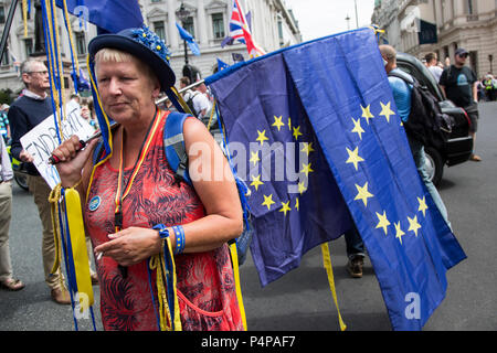 London, UK. 23 June 2018. Remain supporters and protesters gather in Pall Mall for an Anti-Brexit March and Rally supporting a People's Vote. Photo: Bettina Strenske/Alamy Live News - Stock Image