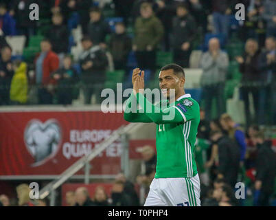 National Football Stadium at Windsor Park, Belfast, Northern Ireland. 21 March 2019. UEFA EURO 2020 Qualifier- Northern Ireland v Estonia. Northern Ireland's Josh Magennis. Credit: David Hunter/Alamy Live News. - Stock Image