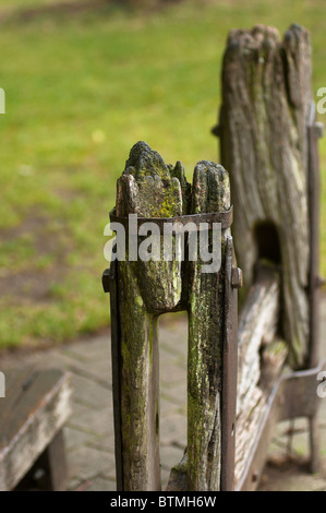 The village stocks Stow on the Wold Gloucestershire UK - Stock Image