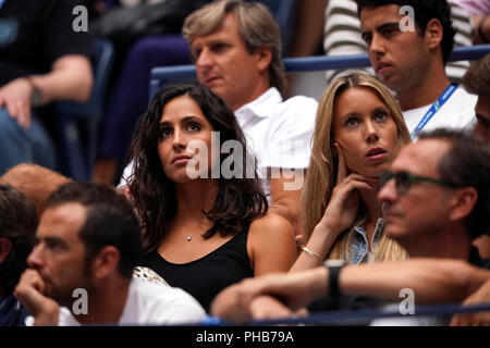 Flushing Meadows, New York - August 31, 2018: US Open Tennis:  Xisca Perell—, the girlfriend of Rafael Nadal watches Nadal's third round match against Karen Khachanov of Russia at the US Open in Flushing Meadows, New York.  Next to Perella is Nadal's sister, Mar'a Isabel Nadal Credit: Adam Stoltman/Alamy Live News - Stock Image