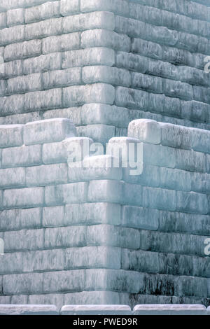 2018 Saint Paul Winter Carnival Ice Palace wall detail - Stock Image