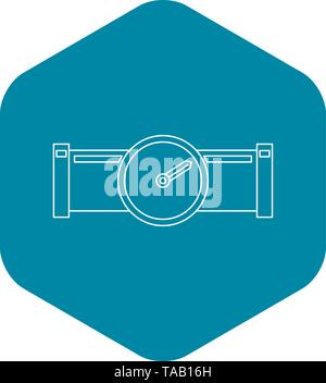 Pipe with water meter icon, outline style - Stock Image