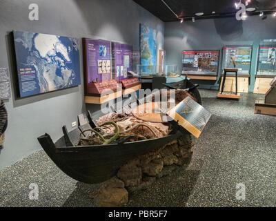 18 April 2018: Keflavik, Iceland - Vikingaheimar, a Viking museum in the Reykjanes Peninsula. Some noise, best at small sizes. - Stock Image