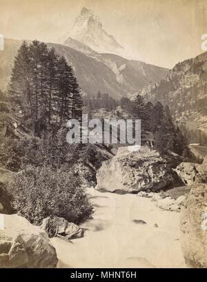 Landscape around Zermatt, Switzerland - and Matterhorn     Date: circa 1910s - Stock Image