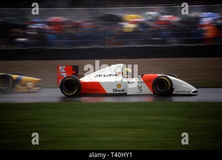 1993 European Grand Prix, Donington. Ayrton Senna, McLaren Ford MP4-8 leads Benneton Ford - Stock Image