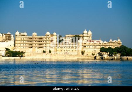 Udaipur from Lake Pichola, Rajasthan, India - Stock Image