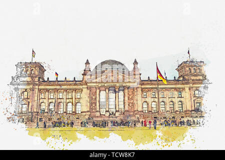 Watercolor sketch or illustration of a beautiful view of the Reichstag building. One of the attractions of Berlin in Germany and a favorite place to visit tourists. - Stock Image