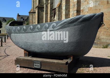 Stone boat of Saint Samson outside Cathedral in Place de la cathedrale, Dol de Bretagne, Ille et Vilaine, Brittany, France - Stock Image