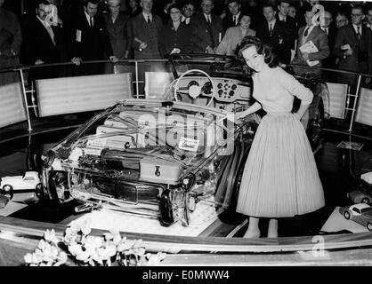Jul 10, 1956; London, UK; The Triumph T.R.3. Sports Car fitted with the much talked about disc brakes, was the center of attraction at the International Motor Show. - Stock Image